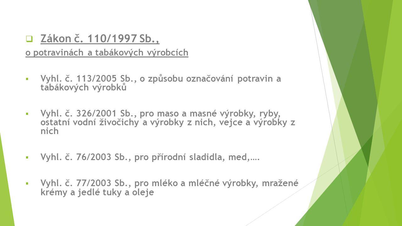 Zákon č. 110/1997 Sb., o potravinách a tabákových výrobcích