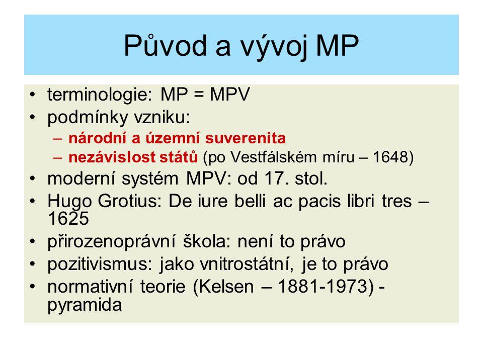 Původ a vývoj MP terminologie: MP = MPV podmínky vzniku: