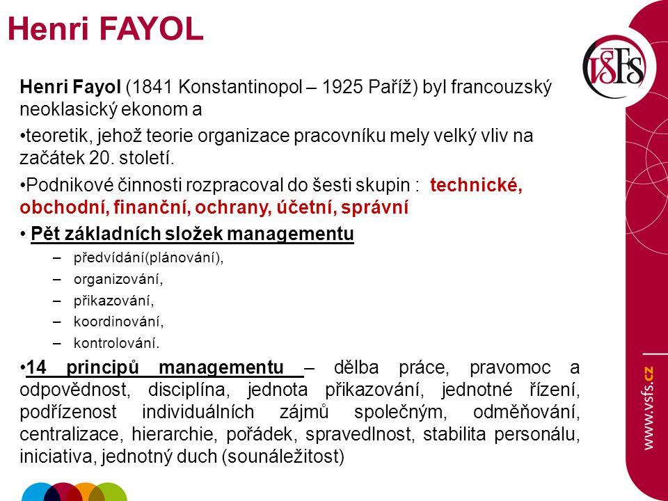 Henri FAYOL Henri Fayol (1841 Konstantinopol – 1925 Paříž) byl francouzský neoklasický ekonom a.