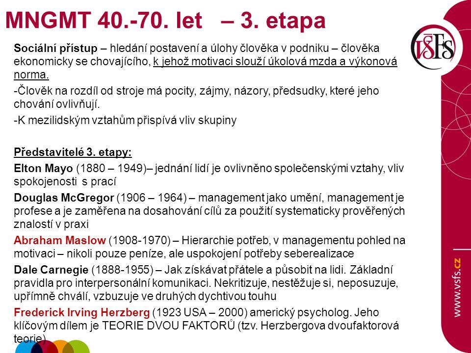 MNGMT 40.-70. let – 3. etapa
