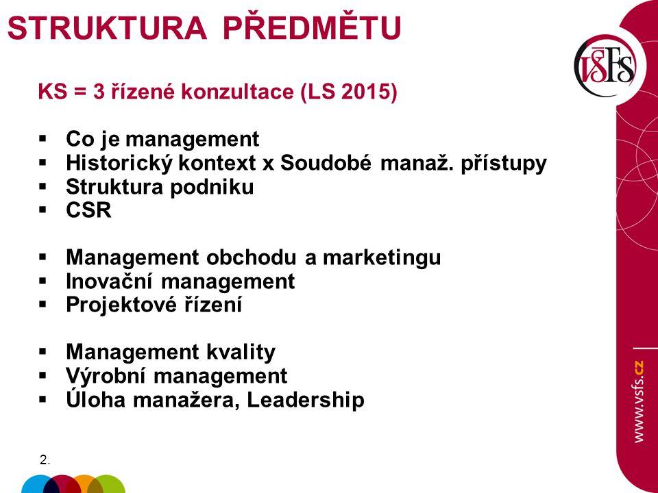 STRUKTURA PŘEDMĚTU KS = 3 řízené konzultace (LS 2015) Co je management