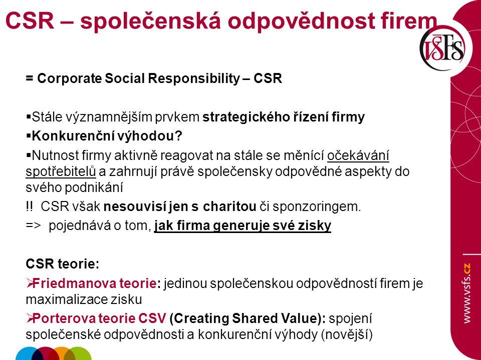 CSR – společenská odpovědnost firem