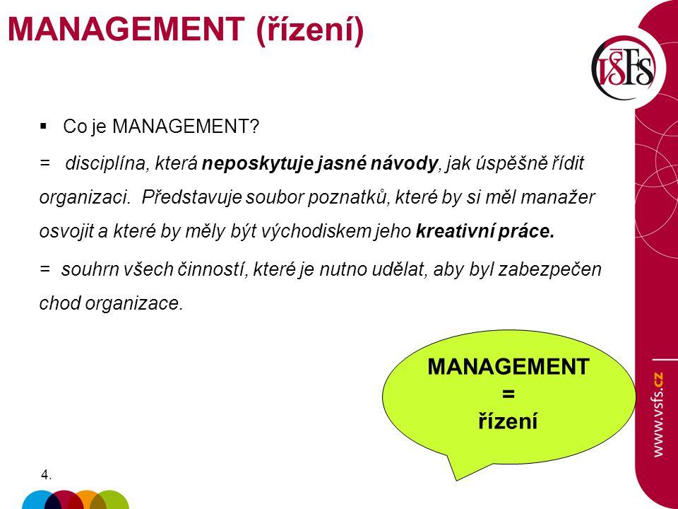 MANAGEMENT (řízení) MANAGEMENT = řízení Co je MANAGEMENT