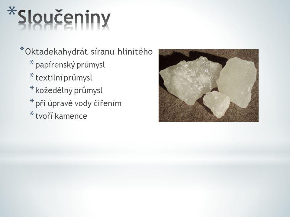 Sloučeniny Oktadekahydrát síranu hlinitého papírenský průmysl