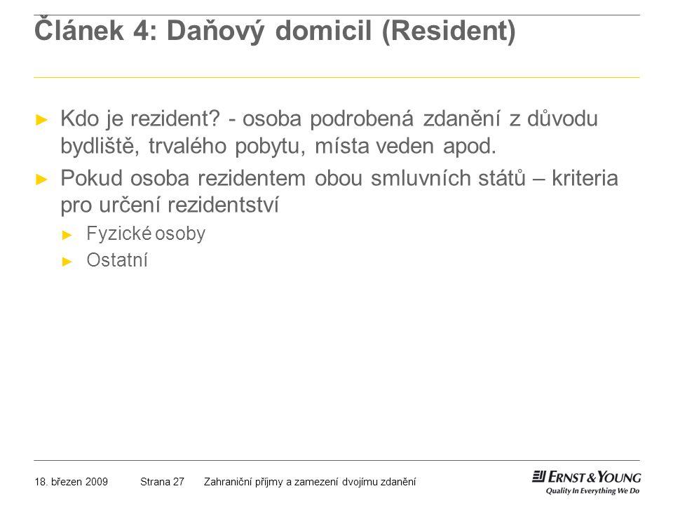 Článek 4: Daňový domicil (Resident)