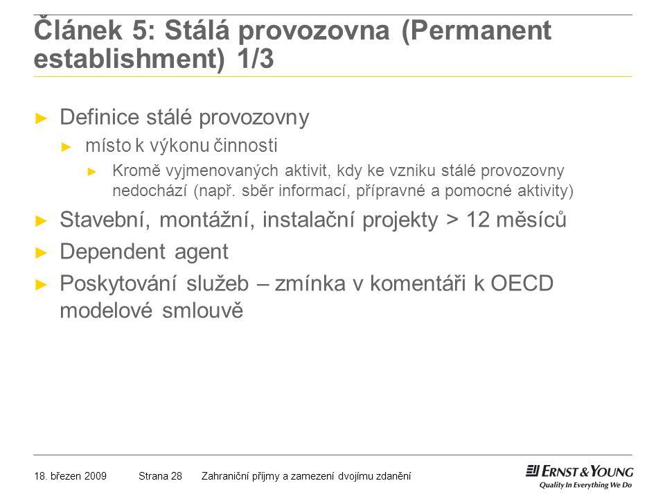 Článek 5: Stálá provozovna (Permanent establishment) 1/3