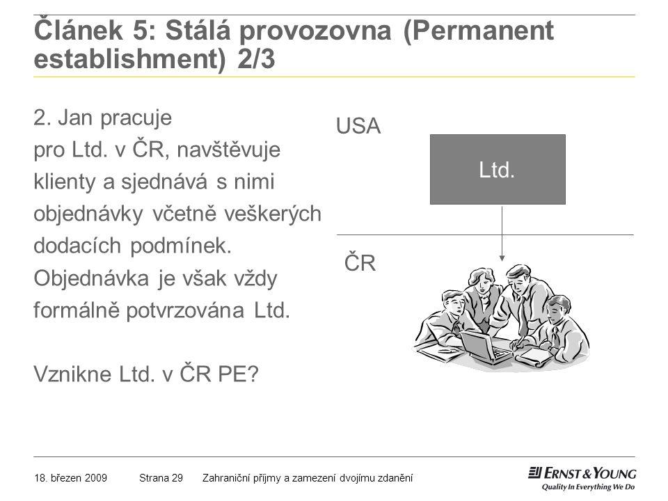Článek 5: Stálá provozovna (Permanent establishment) 2/3