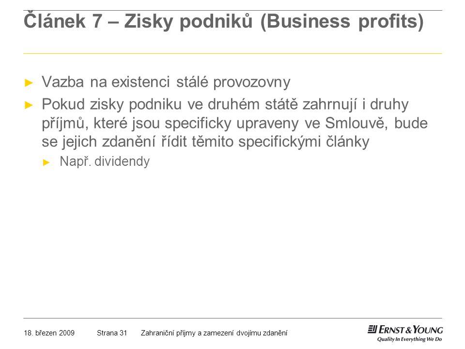 Článek 7 – Zisky podniků (Business profits)