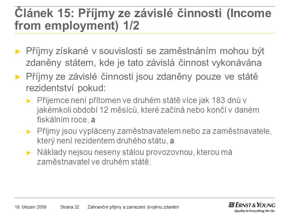 Článek 15: Příjmy ze závislé činnosti (Income from employment) 1/2
