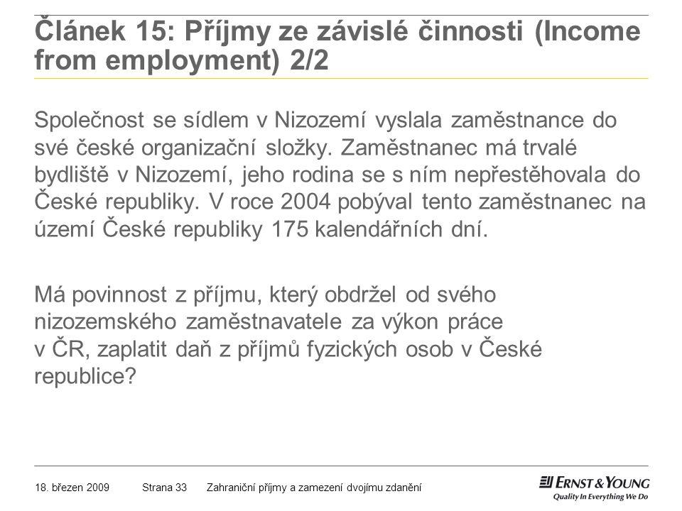 Článek 15: Příjmy ze závislé činnosti (Income from employment) 2/2