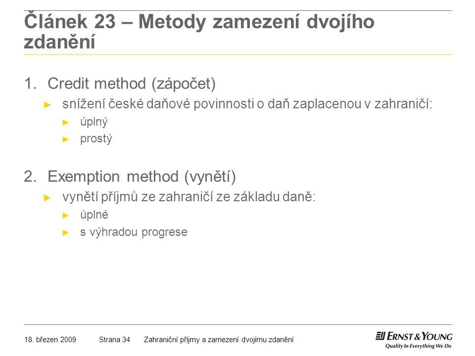 Článek 23 – Metody zamezení dvojího zdanění
