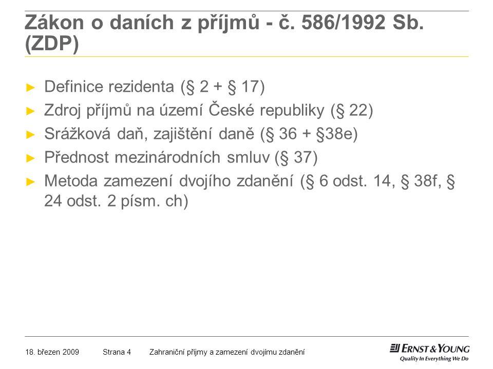 Zákon o daních z příjmů - č. 586/1992 Sb. (ZDP)