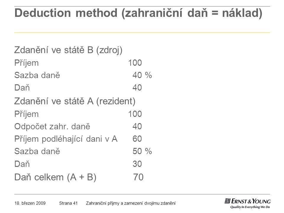 Deduction method (zahraniční daň = náklad)