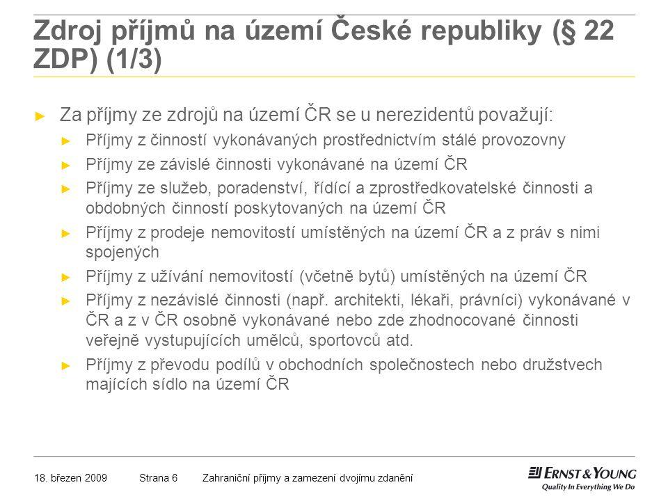 Zdroj příjmů na území České republiky (§ 22 ZDP) (1/3)
