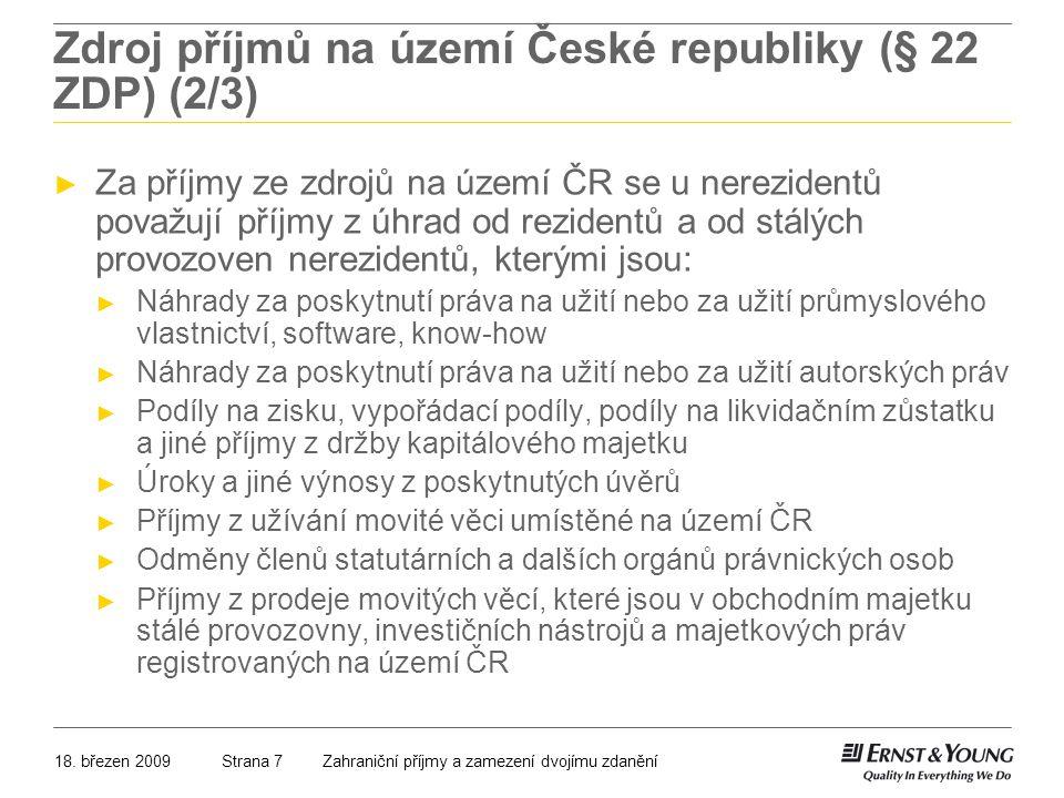 Zdroj příjmů na území České republiky (§ 22 ZDP) (2/3)