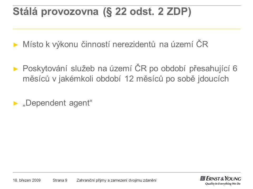 Stálá provozovna (§ 22 odst. 2 ZDP)