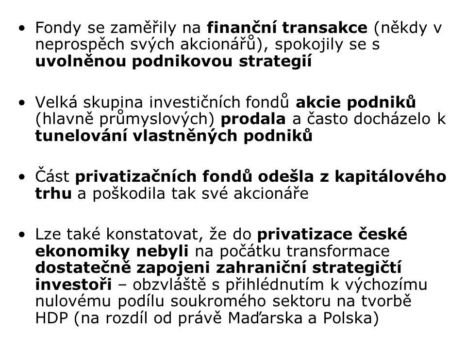 Fondy se zaměřily na finanční transakce (někdy v neprospěch svých akcionářů), spokojily se s uvolněnou podnikovou strategií