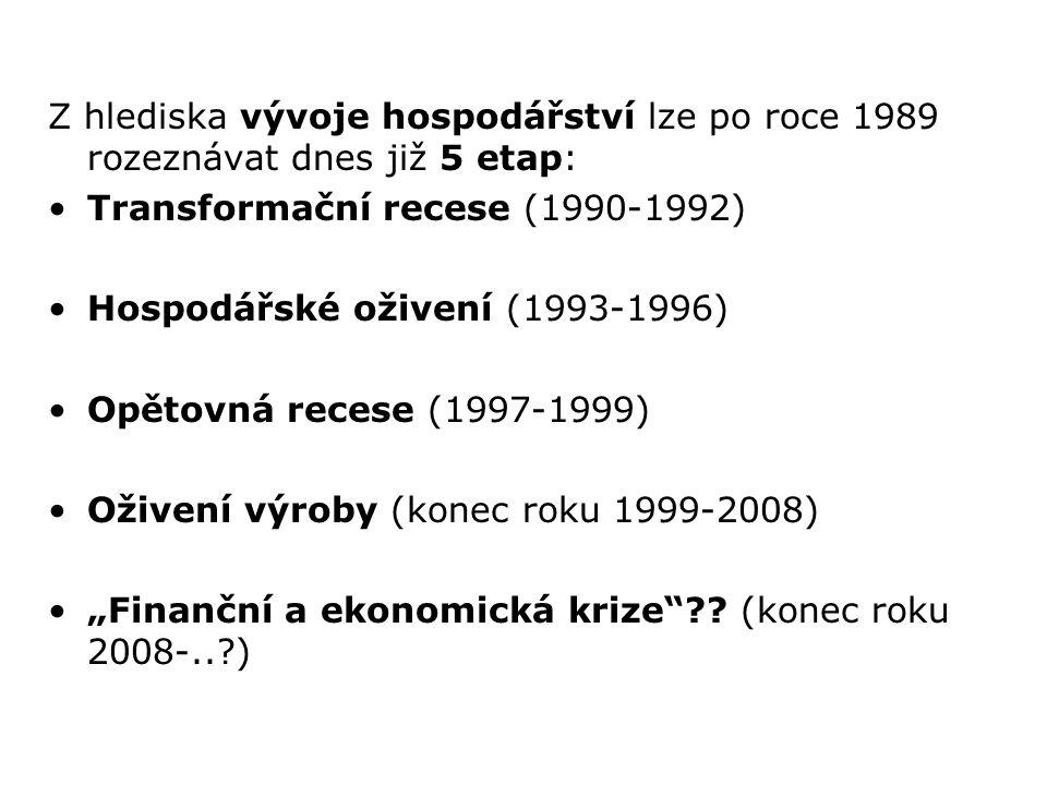 Z hlediska vývoje hospodářství lze po roce 1989 rozeznávat dnes již 5 etap: