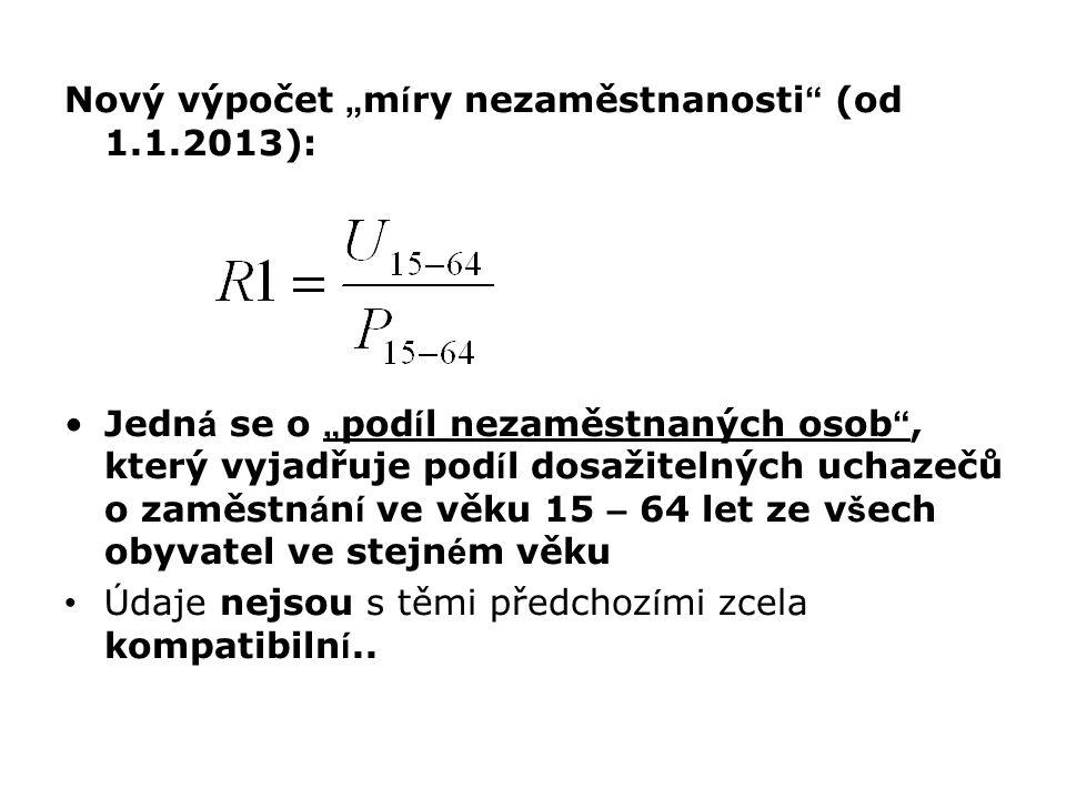 """Nový výpočet """"míry nezaměstnanosti (od 1.1.2013):"""