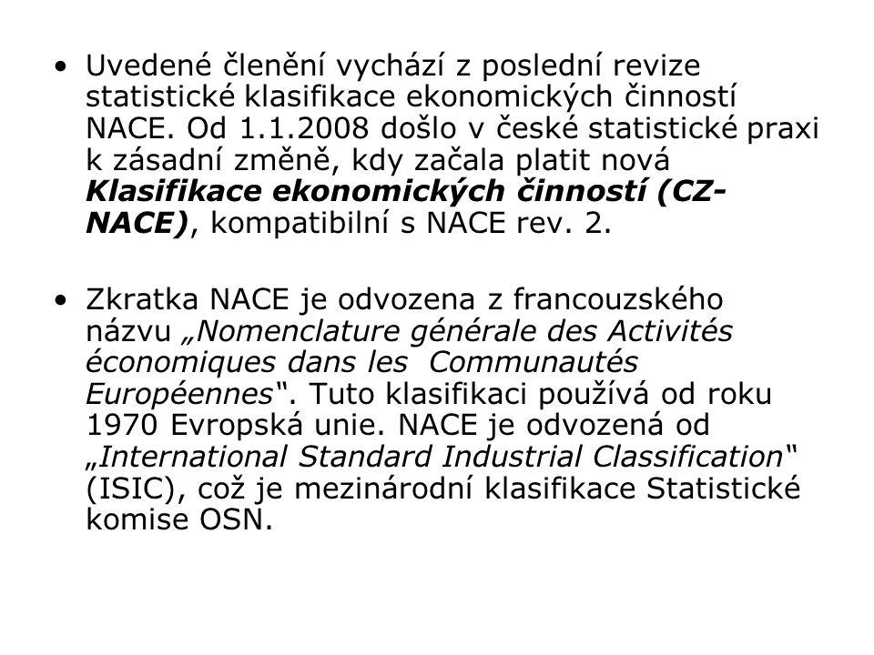 Uvedené členění vychází z poslední revize statistické klasifikace ekonomických činností NACE. Od 1.1.2008 došlo v české statistické praxi k zásadní změně, kdy začala platit nová Klasifikace ekonomických činností (CZ-NACE), kompatibilní s NACE rev. 2.