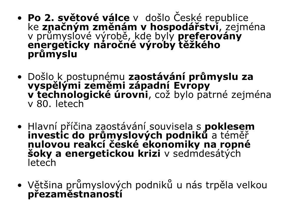 Po 2. světové válce v došlo České republice ke značným změnám v hospodářství, zejména v průmyslové výrobě, kde byly preferovány energeticky náročné výroby těžkého průmyslu