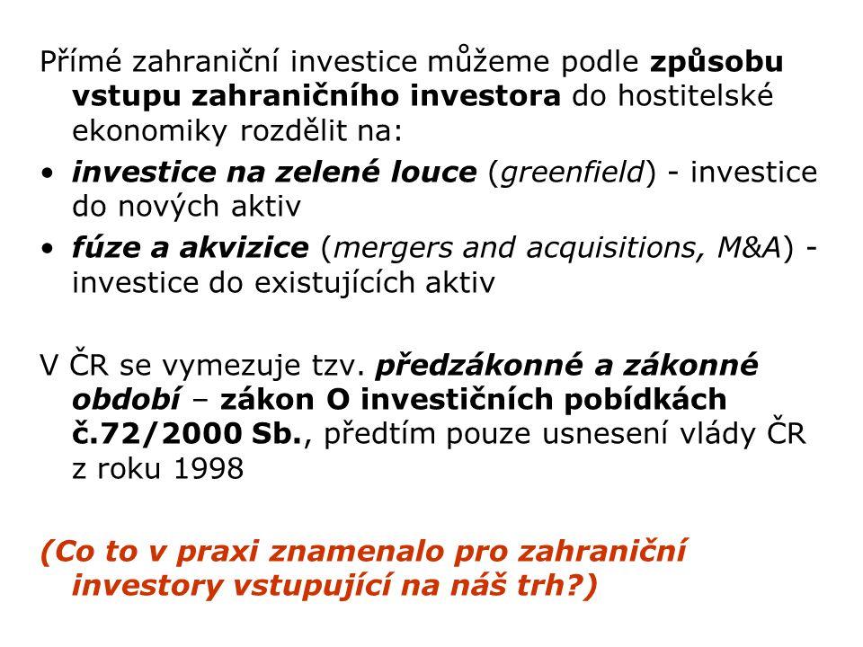 Přímé zahraniční investice můžeme podle způsobu vstupu zahraničního investora do hostitelské ekonomiky rozdělit na: