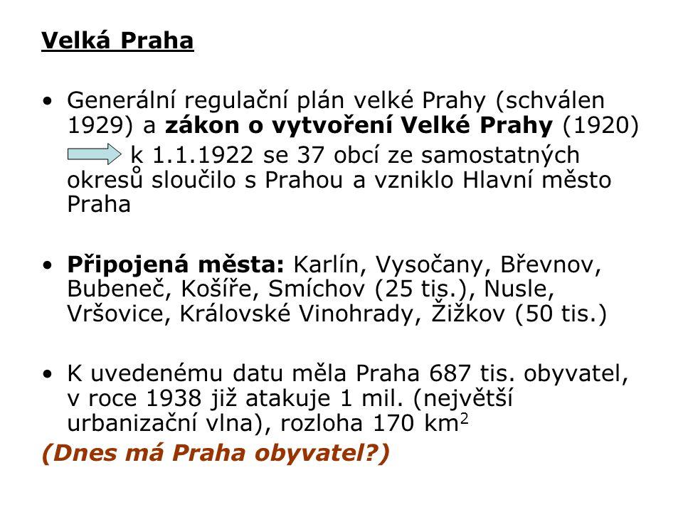 Velká Praha Generální regulační plán velké Prahy (schválen 1929) a zákon o vytvoření Velké Prahy (1920)
