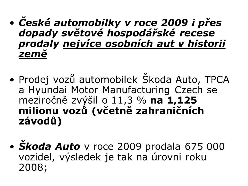 České automobilky v roce 2009 i přes dopady světové hospodářské recese prodaly nejvíce osobních aut v historii země