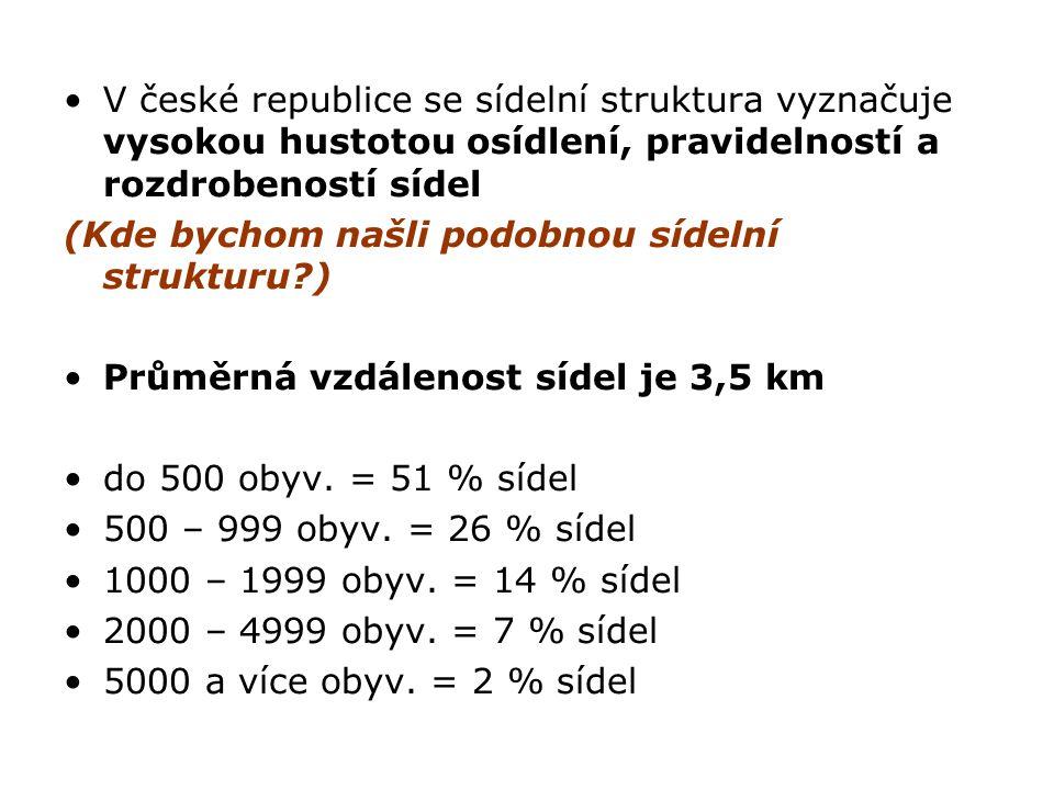 V české republice se sídelní struktura vyznačuje vysokou hustotou osídlení, pravidelností a rozdrobeností sídel