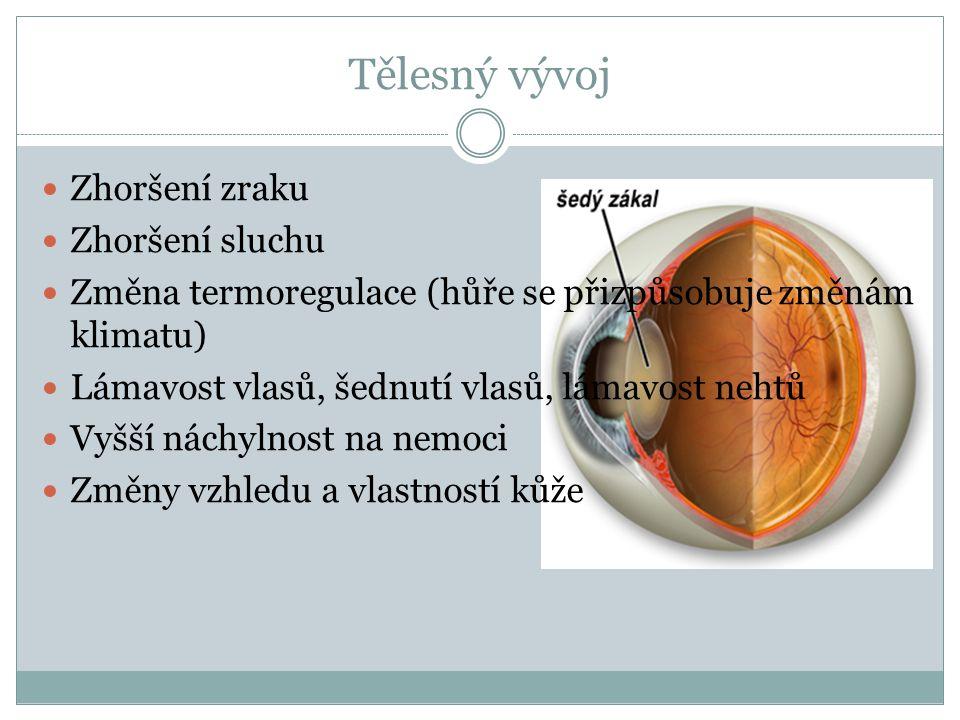 Tělesný vývoj Zhoršení zraku Zhoršení sluchu