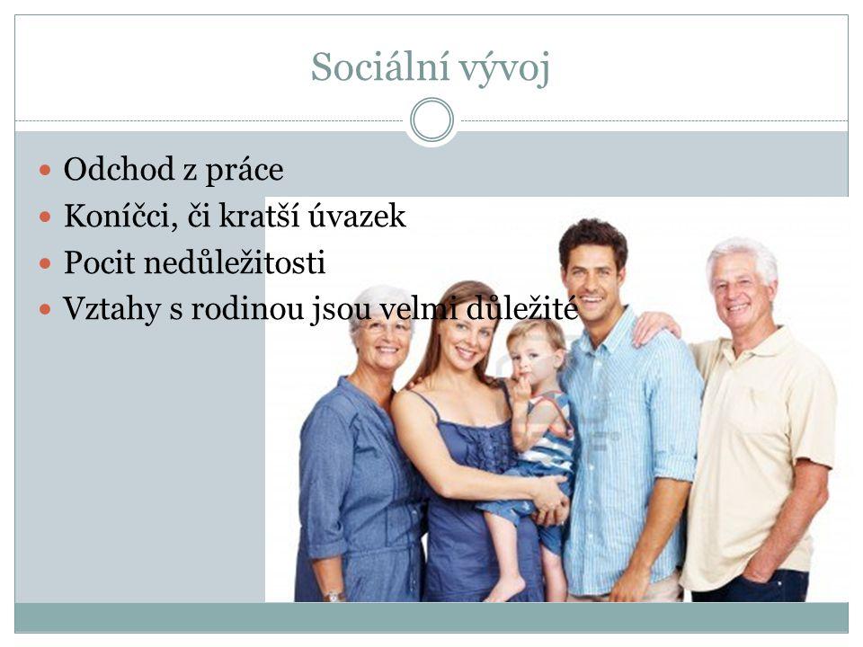 Sociální vývoj Odchod z práce Koníčci, či kratší úvazek