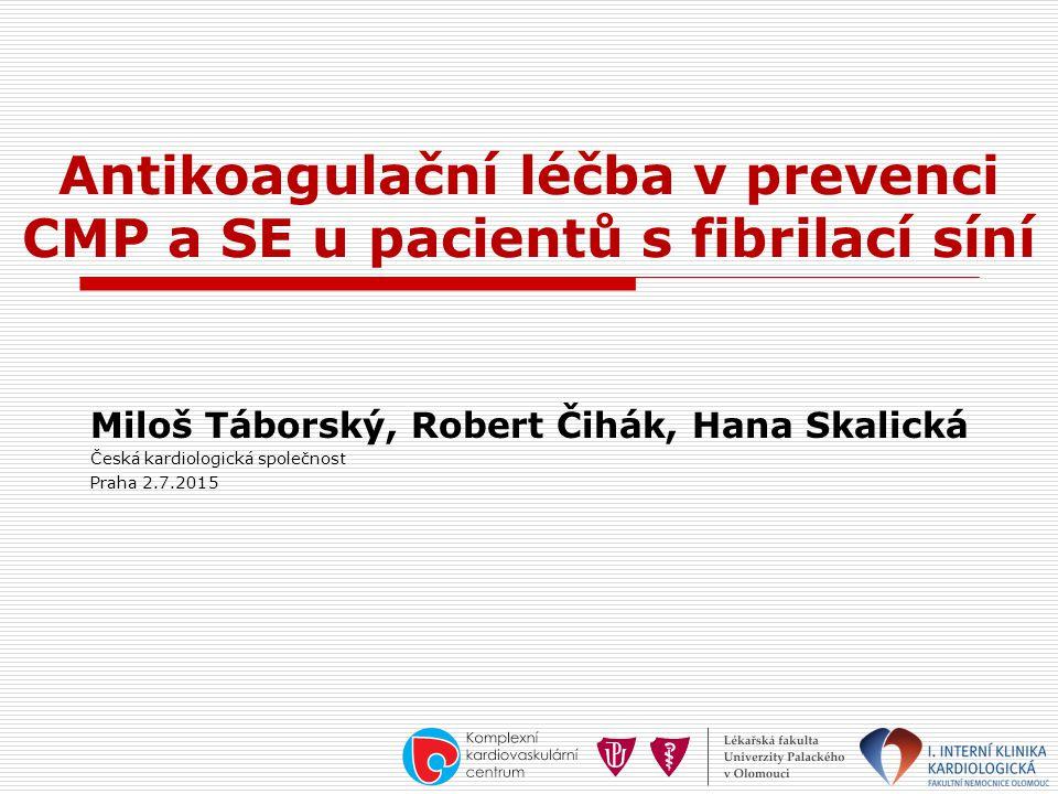 Antikoagulační léčba v prevenci CMP a SE u pacientů s fibrilací síní