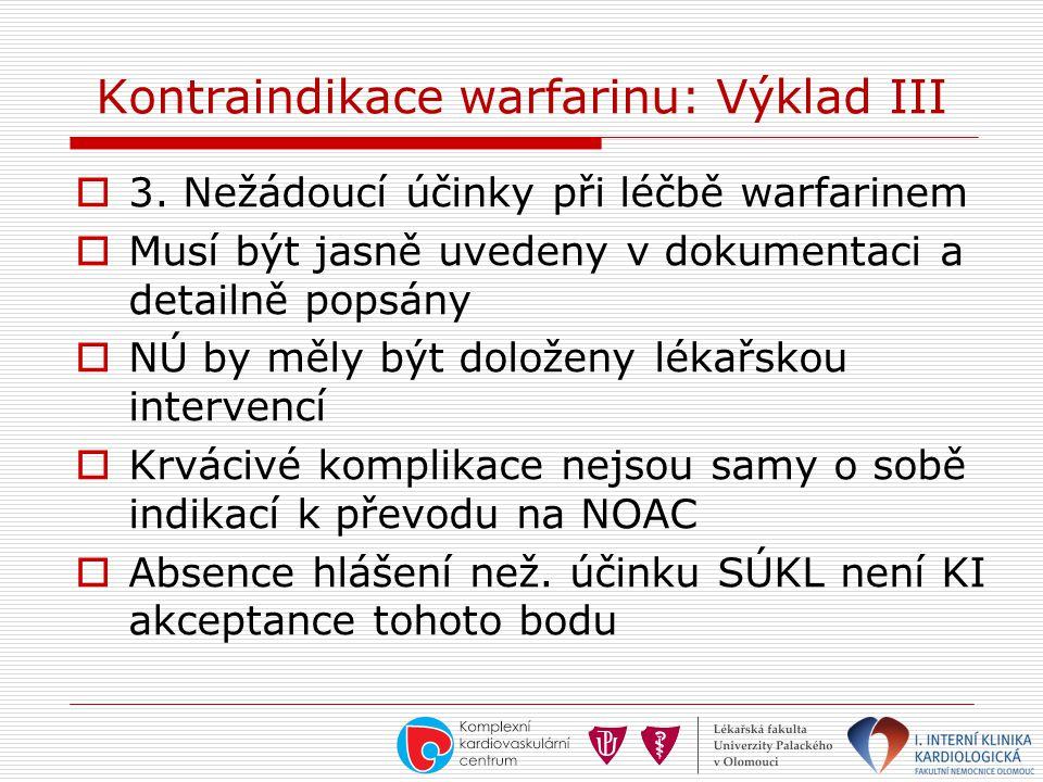 Kontraindikace warfarinu: Výklad III