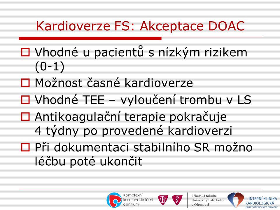Kardioverze FS: Akceptace DOAC