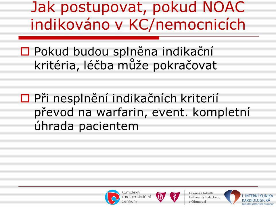 Jak postupovat, pokud NOAC indikováno v KC/nemocnicích