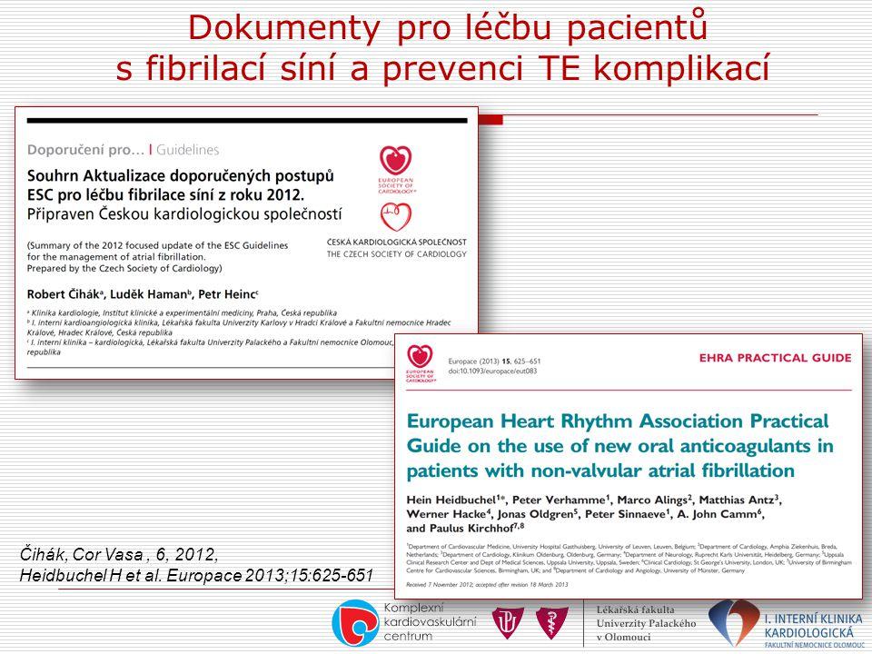 Dokumenty pro léčbu pacientů s fibrilací síní a prevenci TE komplikací