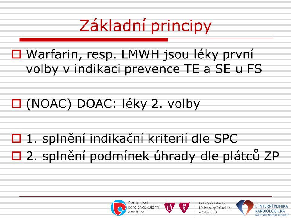 Základní principy Warfarin, resp. LMWH jsou léky první volby v indikaci prevence TE a SE u FS. (NOAC) DOAC: léky 2. volby.