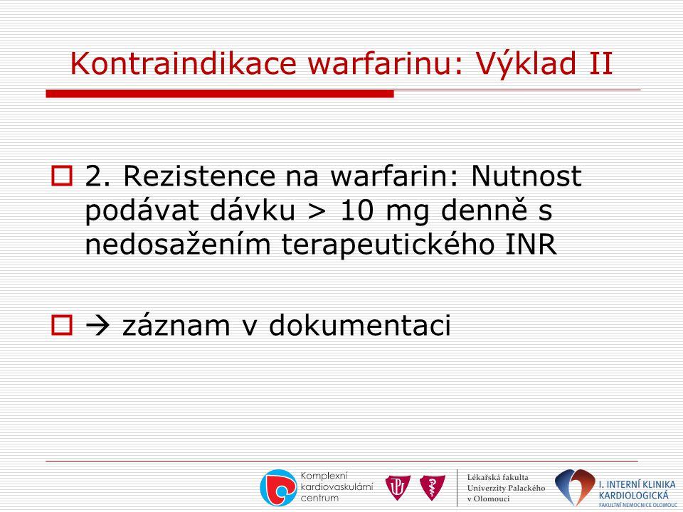 Kontraindikace warfarinu: Výklad II