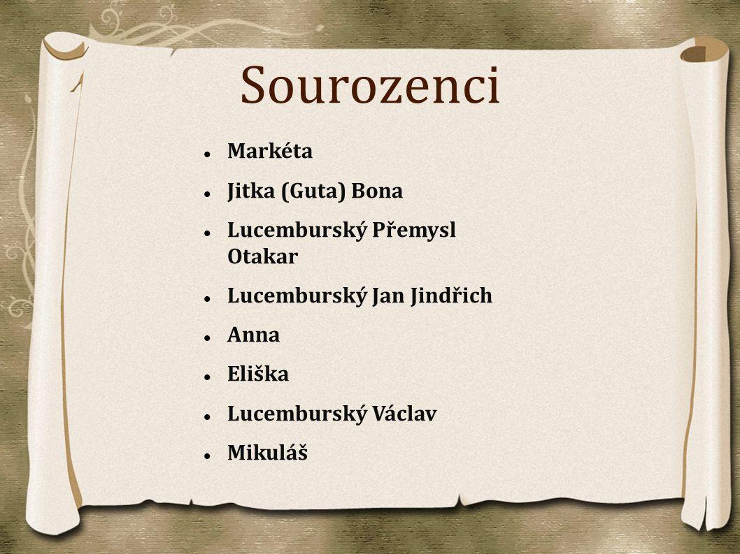 Sourozenci Markéta Jitka (Guta) Bona Lucemburský Přemysl Otakar