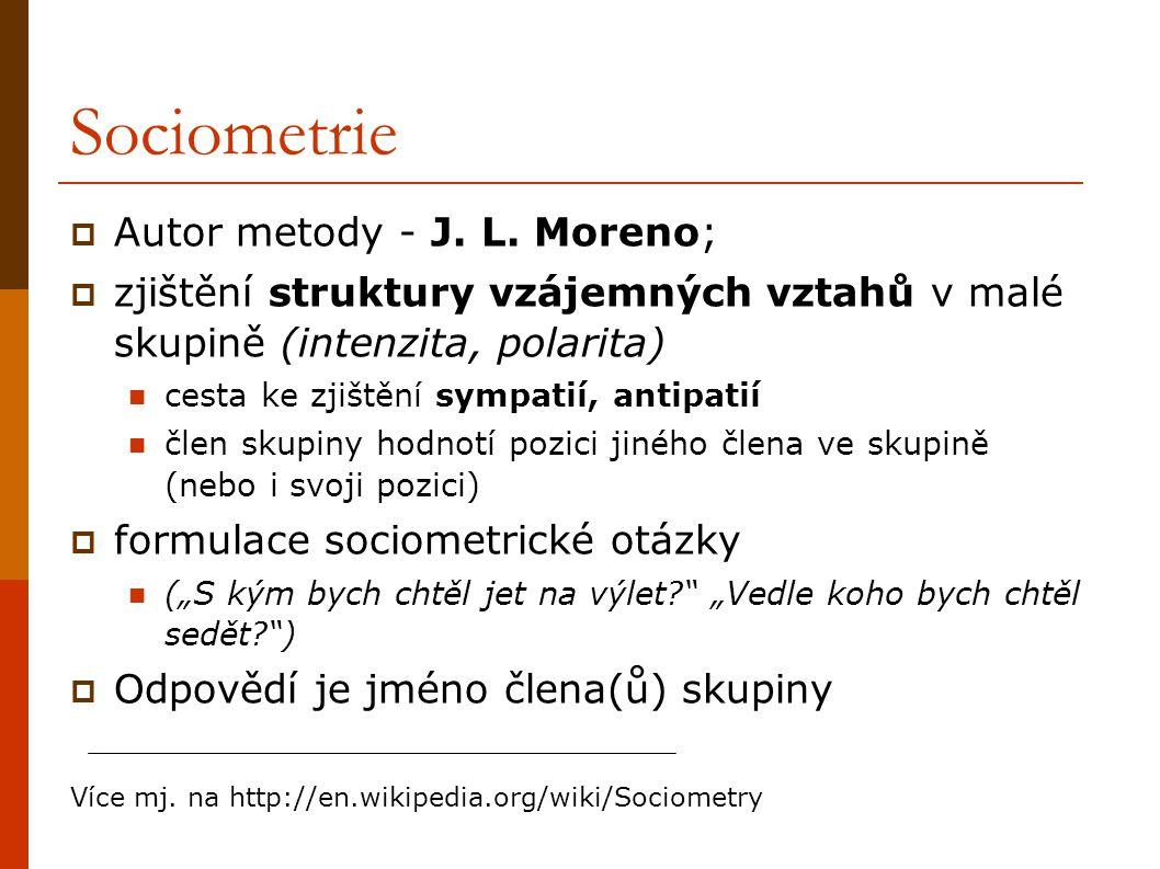 Sociometrie Autor metody - J. L. Moreno;