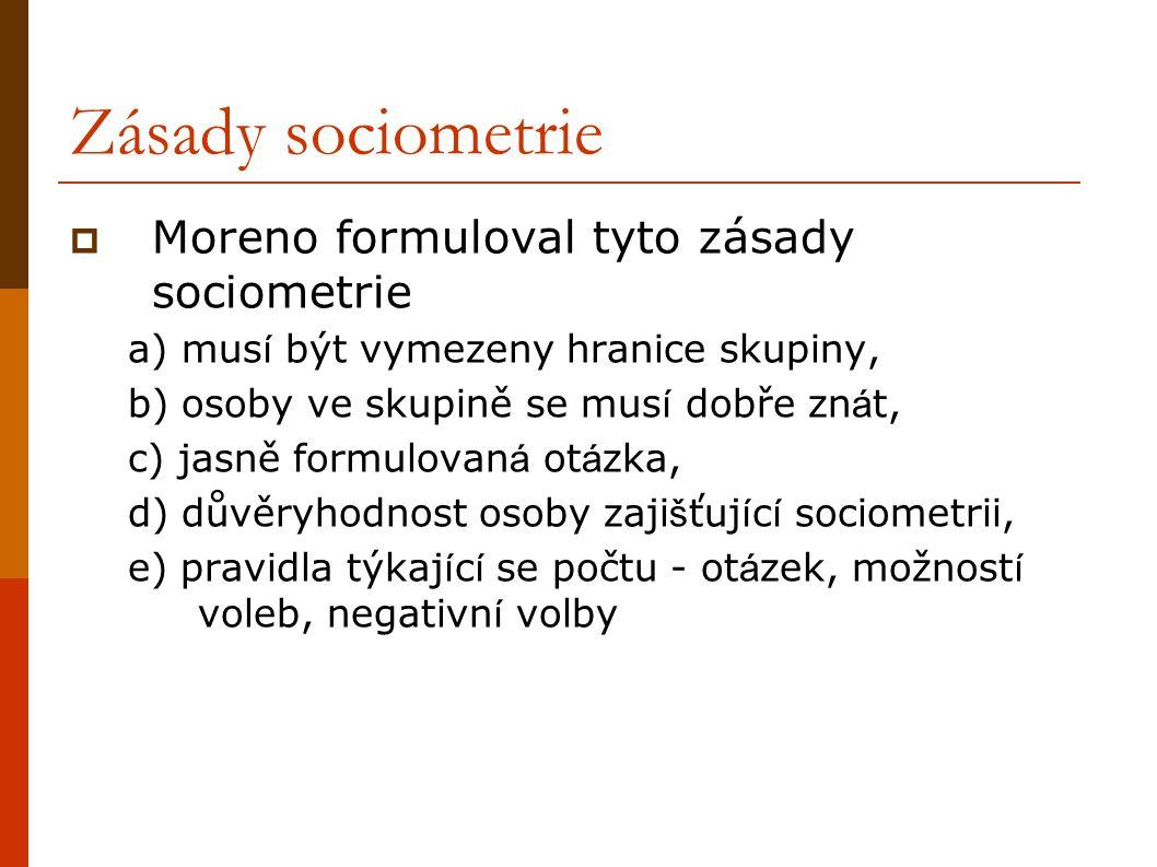 Zásady sociometrie Moreno formuloval tyto zásady sociometrie