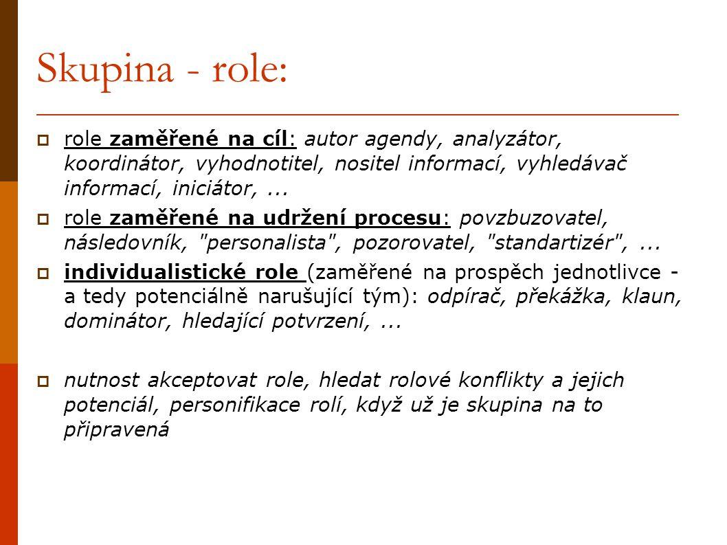 Skupina - role: role zaměřené na cíl: autor agendy, analyzátor, koordinátor, vyhodnotitel, nositel informací, vyhledávač informací, iniciátor, ...