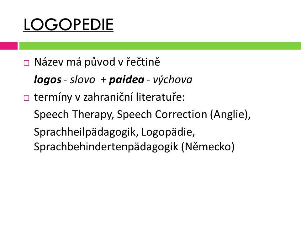 LOGOPEDIE Název má původ v řečtině logos - slovo + paidea - výchova