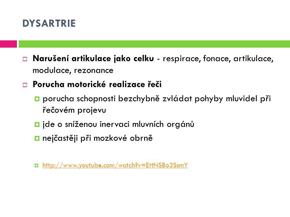 DYSARTRIE Narušení artikulace jako celku - respirace, fonace, artikulace, modulace, rezonance. Porucha motorické realizace řeči.