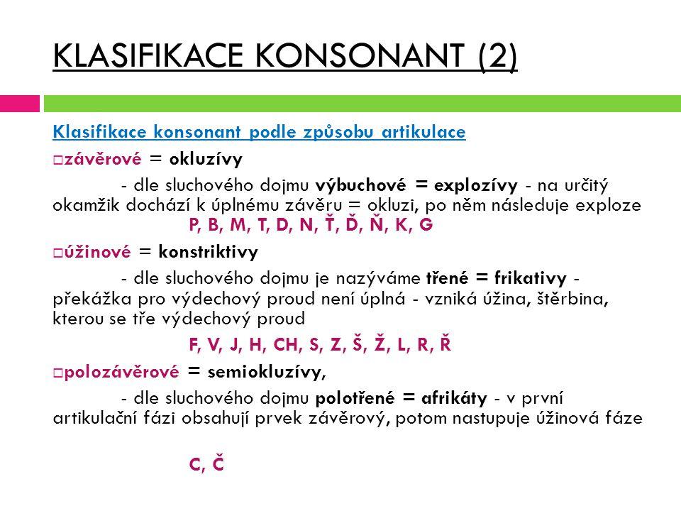 KLASIFIKACE KONSONANT (2)