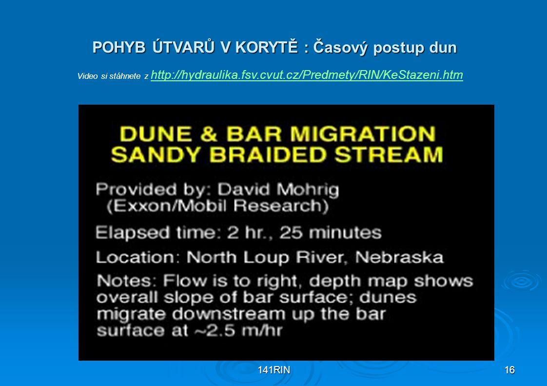 POHYB ÚTVARŮ V KORYTĚ : Časový postup dun