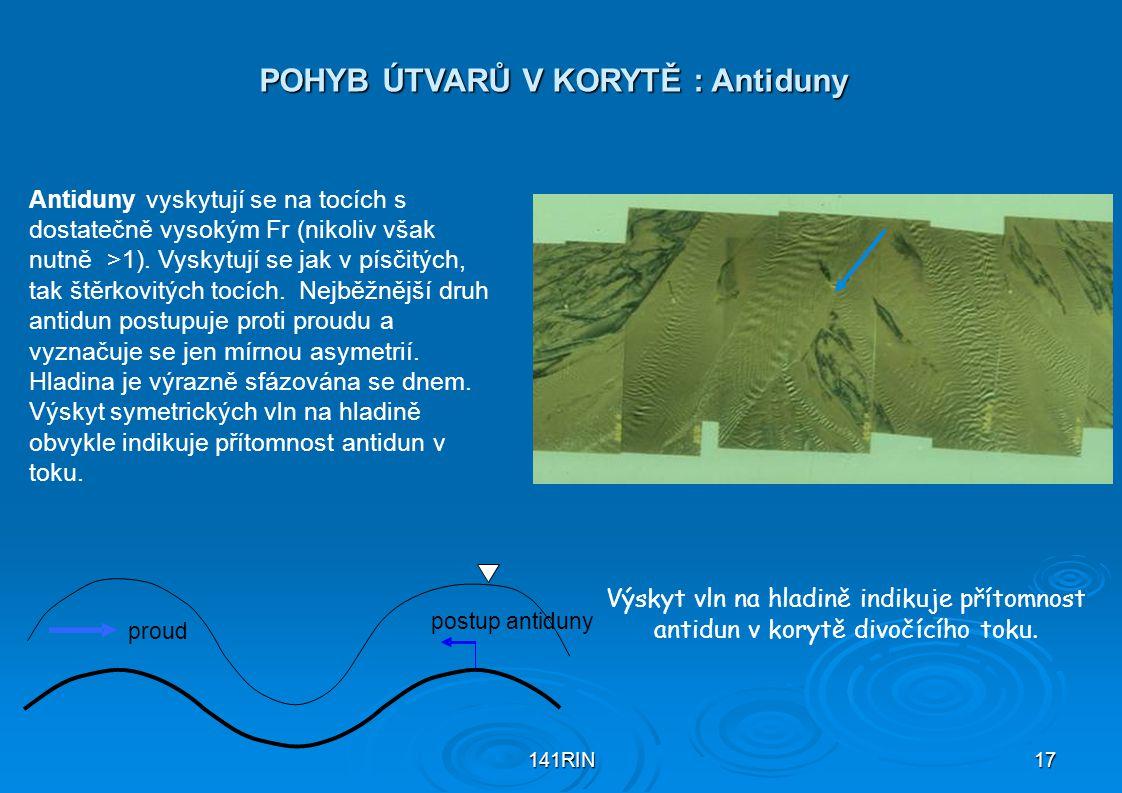 POHYB ÚTVARŮ V KORYTĚ : Antiduny