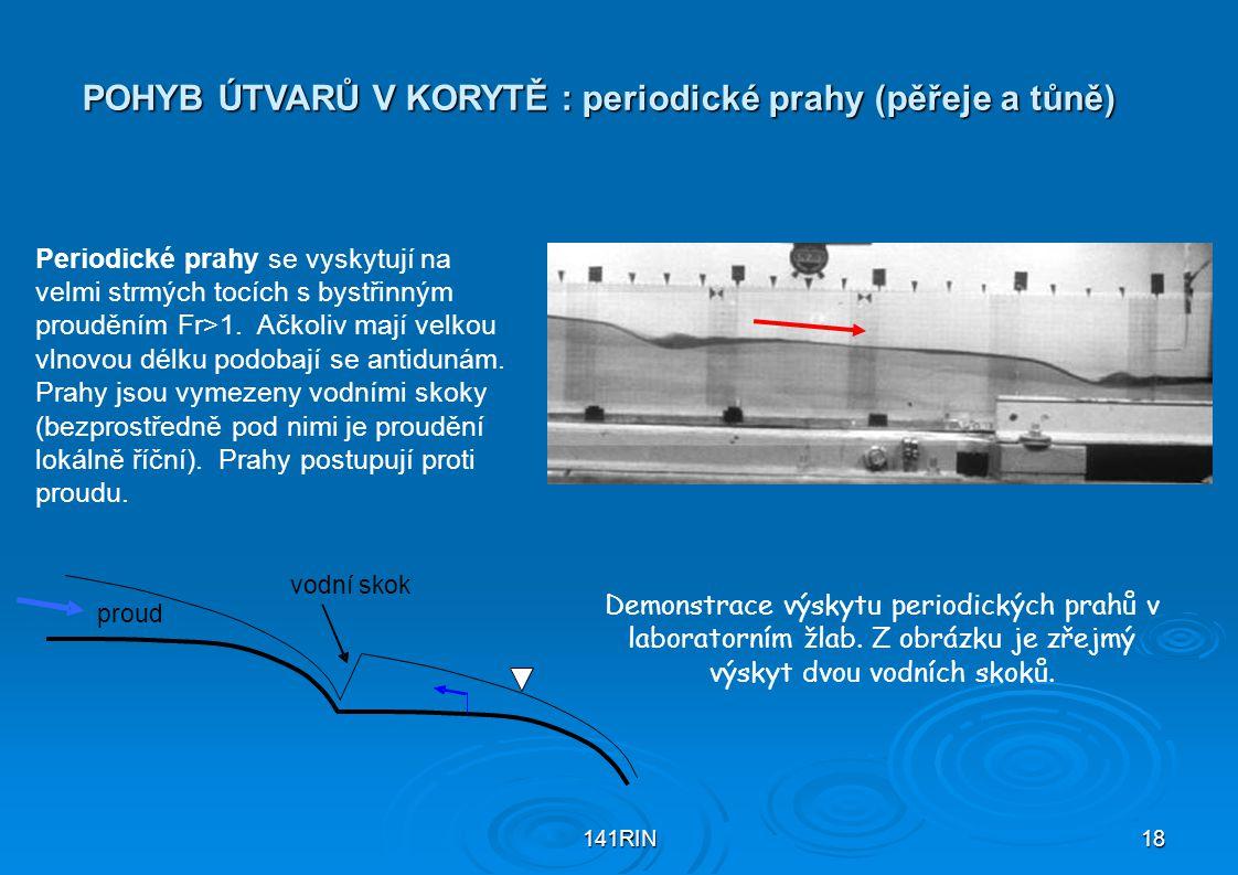 POHYB ÚTVARŮ V KORYTĚ : periodické prahy (pěřeje a tůně)