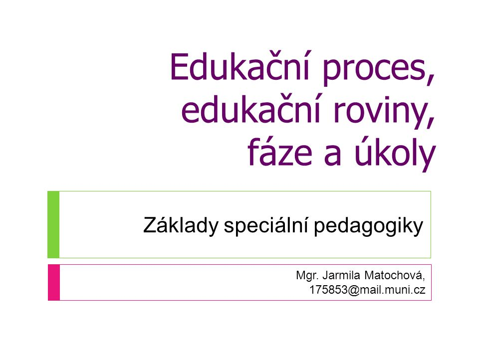 Edukační proces, edukační roviny, fáze a úkoly