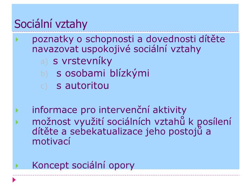 Sociální vztahy s vrstevníky s osobami blízkými s autoritou